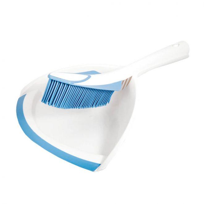 Szufelka ze zmiotką silikonową w białym kolorze z niebieskim włosiem