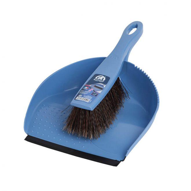 Zmiotka z szufelką z czarną gumką w niebieskim kolorze